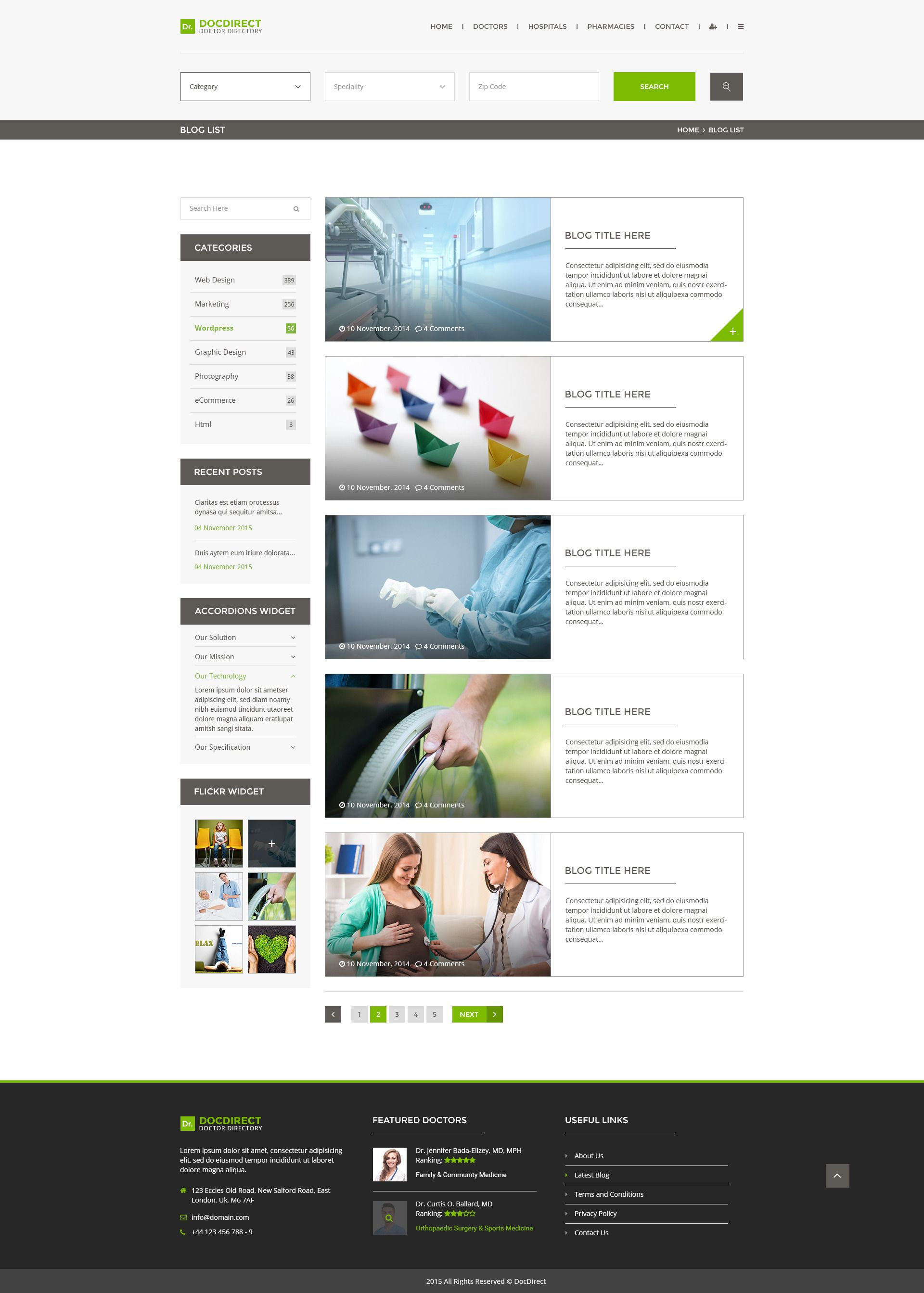 docdirect directory psd template for healthcare profession