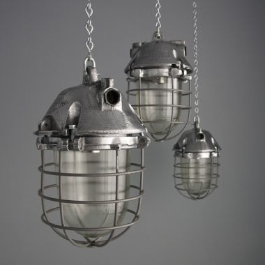 group of industrial polish pendant light with glass and cages