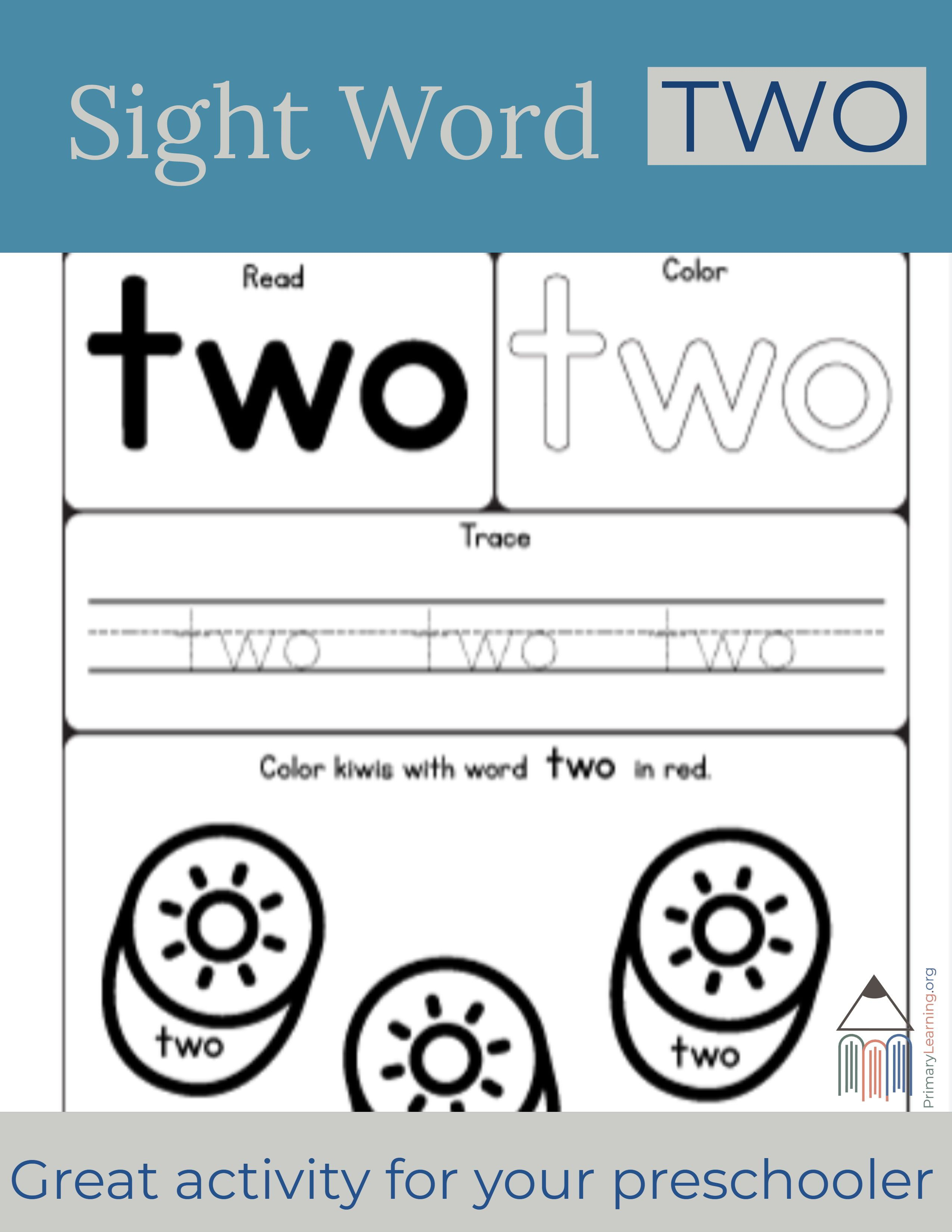 Sight Word Two Worksheet