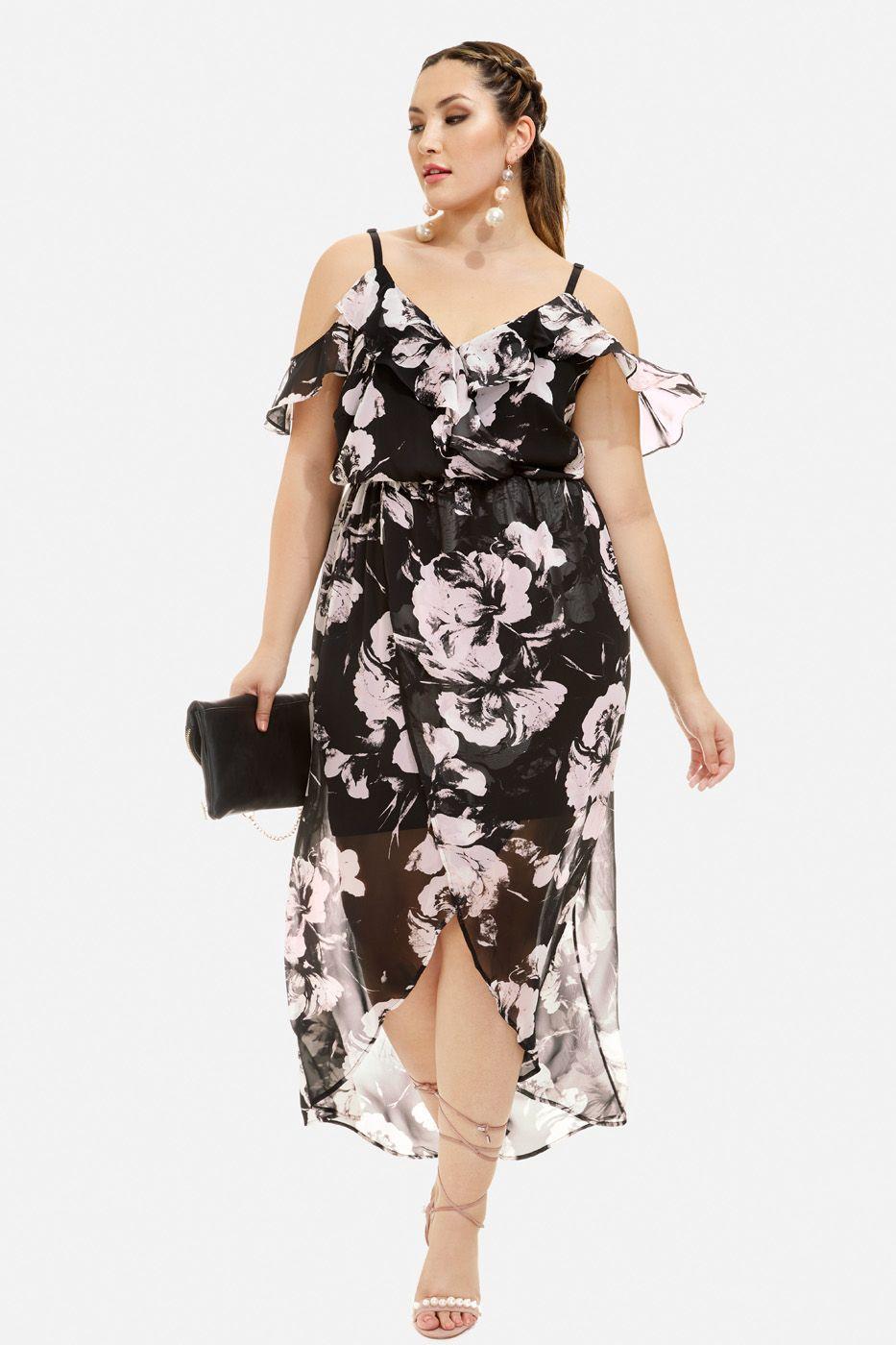 5906c77518b6 Plus Size Cherie Floral Cold Shoulder Wrap Dress | Fashion to Figure ...