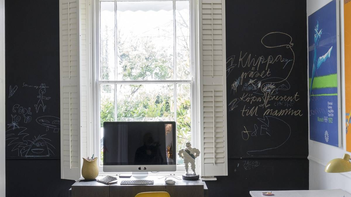 office chalkboard. Modern Family Home Office With Chalkboard Wall And Shutters