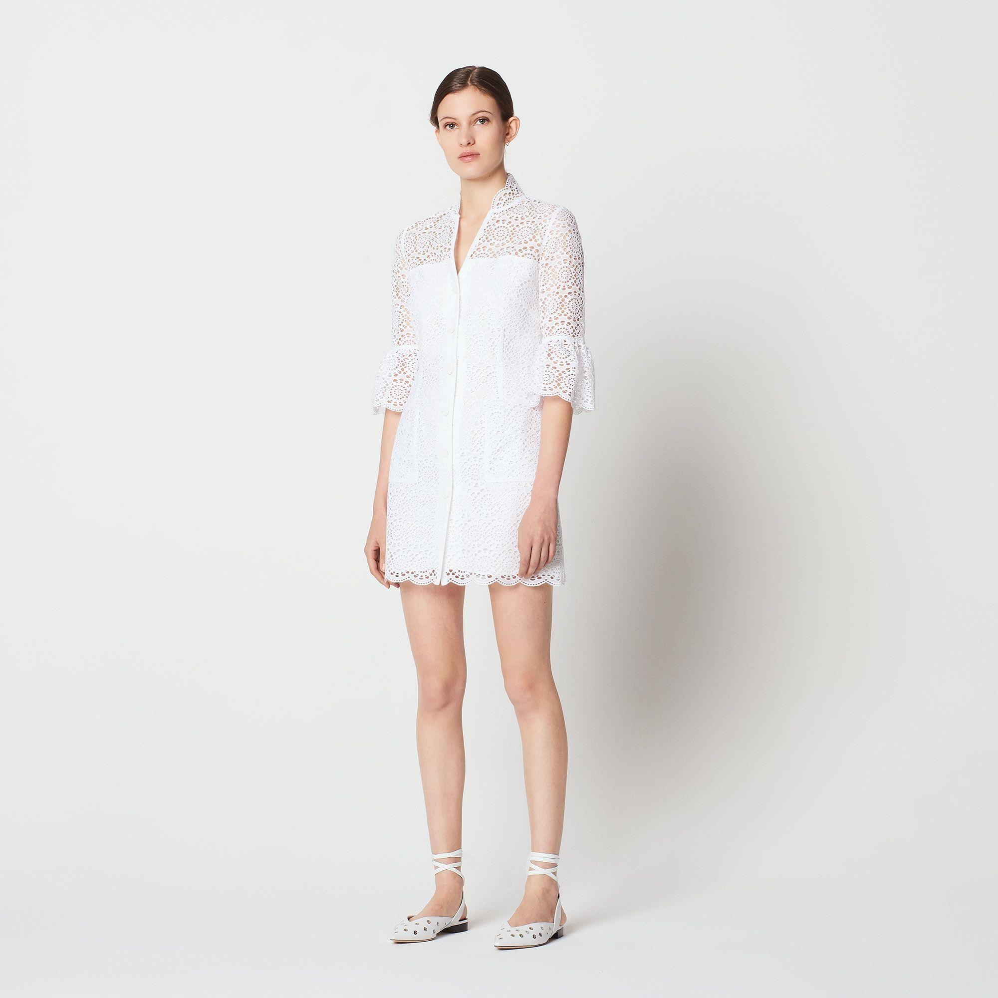 5ce6af132126 All-over lace shirt dress - Dresses - Sandro-paris.com
