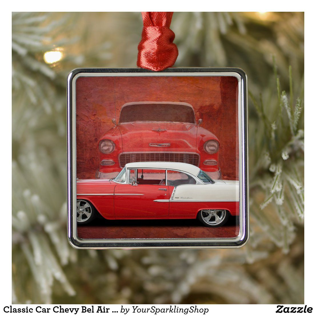 Classic Car Chevy Bel Air Red Vintage Oldtimer Ceramic Ornament | Zazzle.com