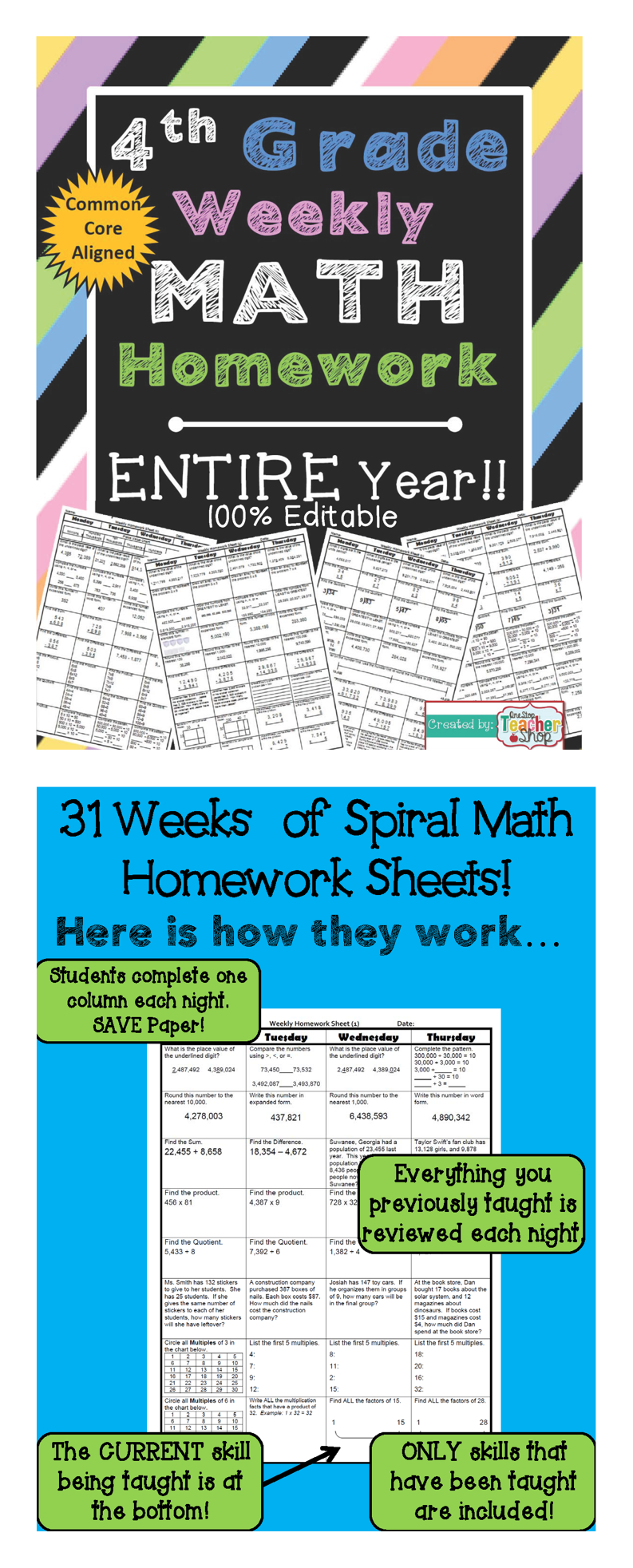 4th Grade Math Spiral Review | 4th Grade Math Homework 4th Grade ...