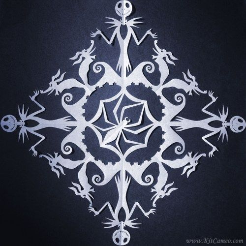 The Nightmare Before Christmas Snowflake With Jack And Zero Hand