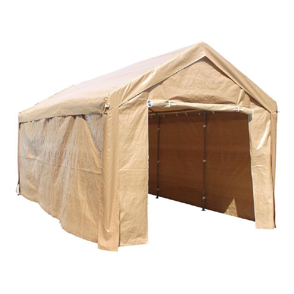 Aleko 10 Ft W X 20 Ft D Beige Roof Heavy Duty Carport Carport Tent Canopy Tent Carport Canopy