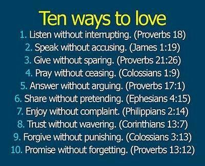 Ten ways to love.....