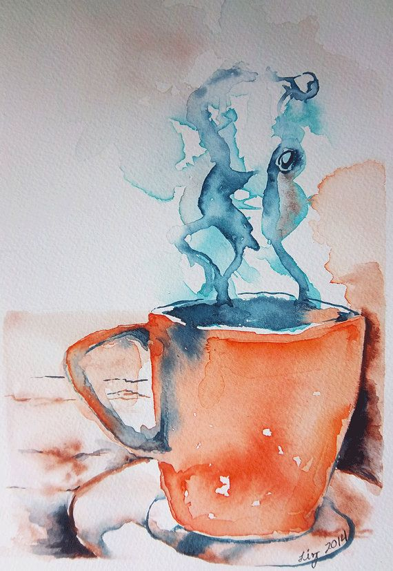 Art Original Watercolor Painting Steaming Mug By Ginkgotreestudio
