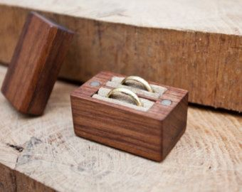 Wood ring box wedding