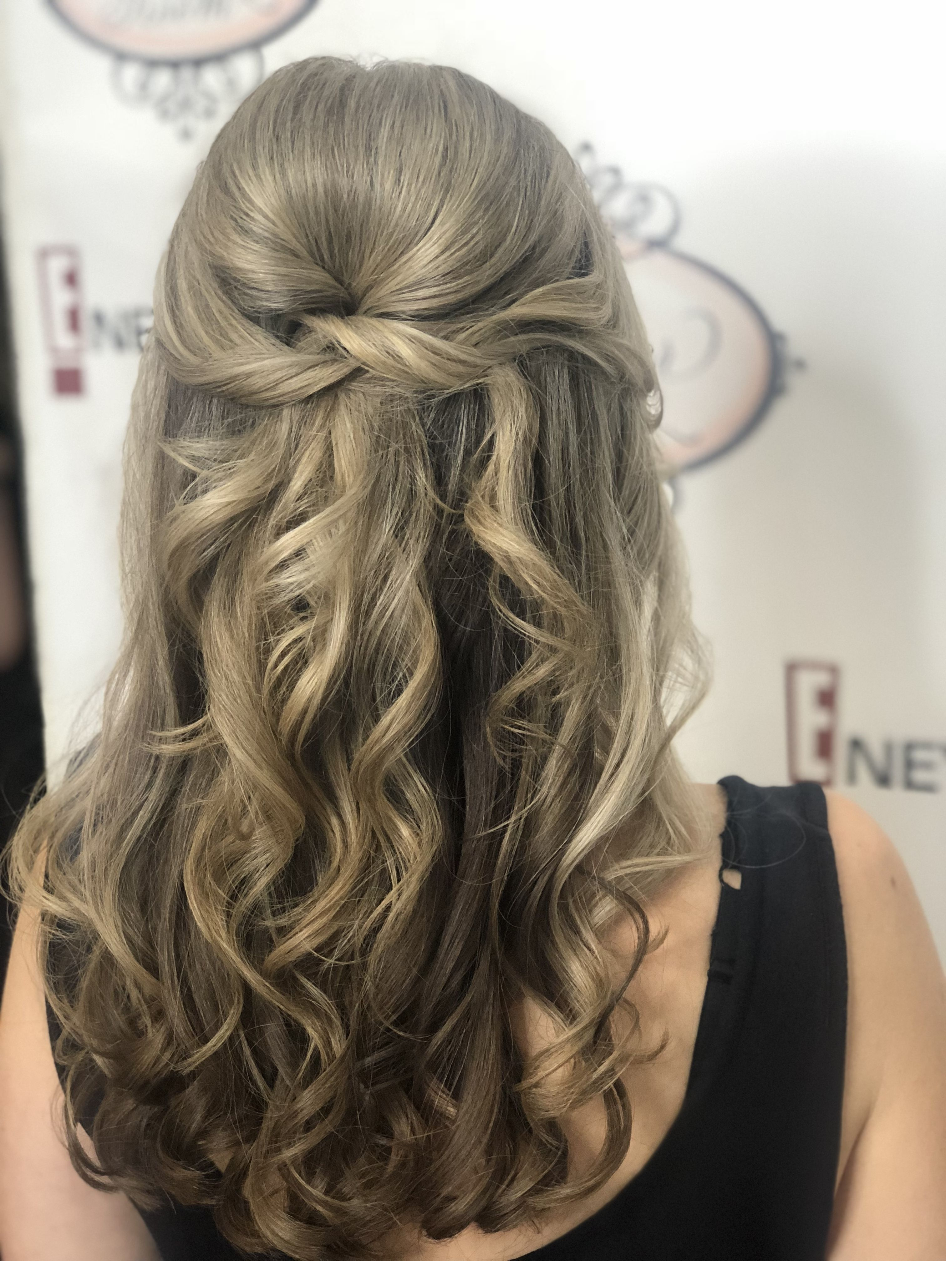 Half Up Hairstyle For Special Event By Bridgette Powder Room Special Occasion Hairstyles Prom Hairstyles For Long Hair Event Hairstyles