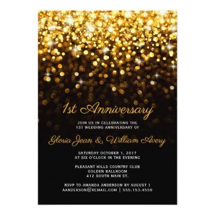 Gold Black Hollywood Glam 1st Wedding Anniversary Invitation Zazzle Com Glam Wedding Invites Glitter Wedding Invitations Wedding Anniversary Invitations