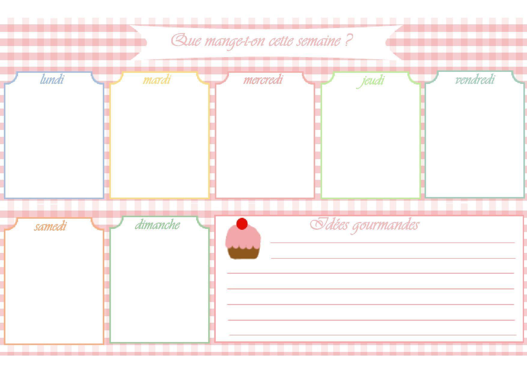 Populaire Modèle de menu de la semaine à imprimer.Planning de repas sous  MM97