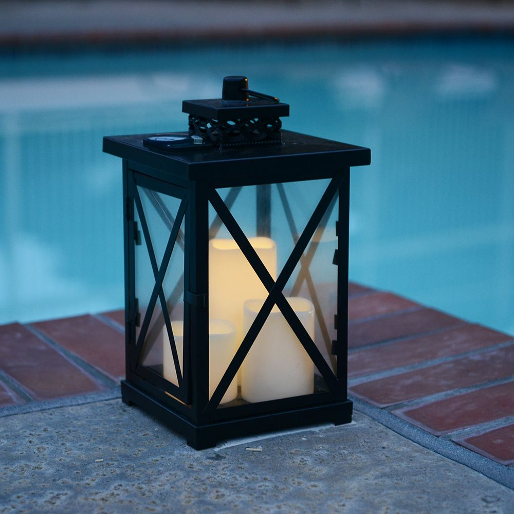 $21.43  LED Lanterns 3pc Solar Plastic LED Candle with Metal Cross Lantern