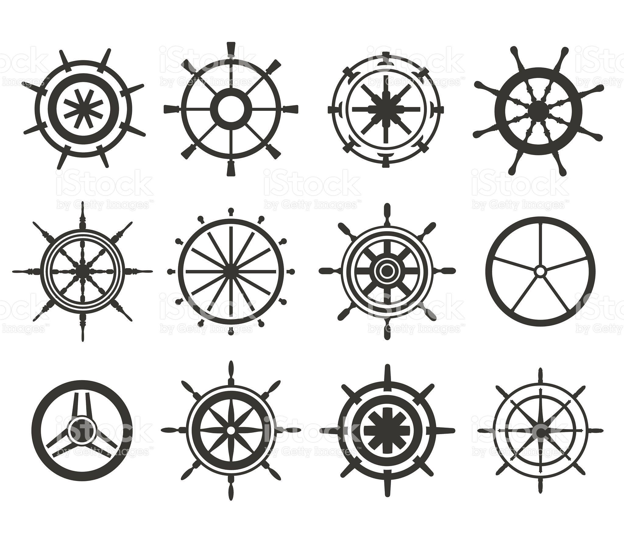 Vector rudder black and white flat icons set. Rudder wheel