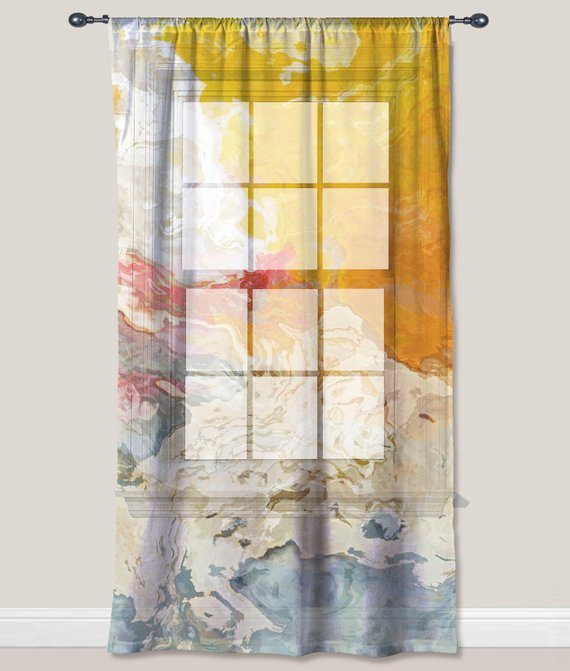Sheer Curtain With Abstract Art In Yellow, Orange And