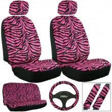 Pink Zebra Car Seat Cover Set