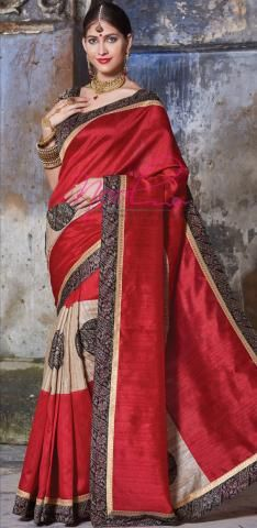 06526cacbd Applique Work Jute Silk Sarees Red Multi Layered Online C.14.A.22 ...