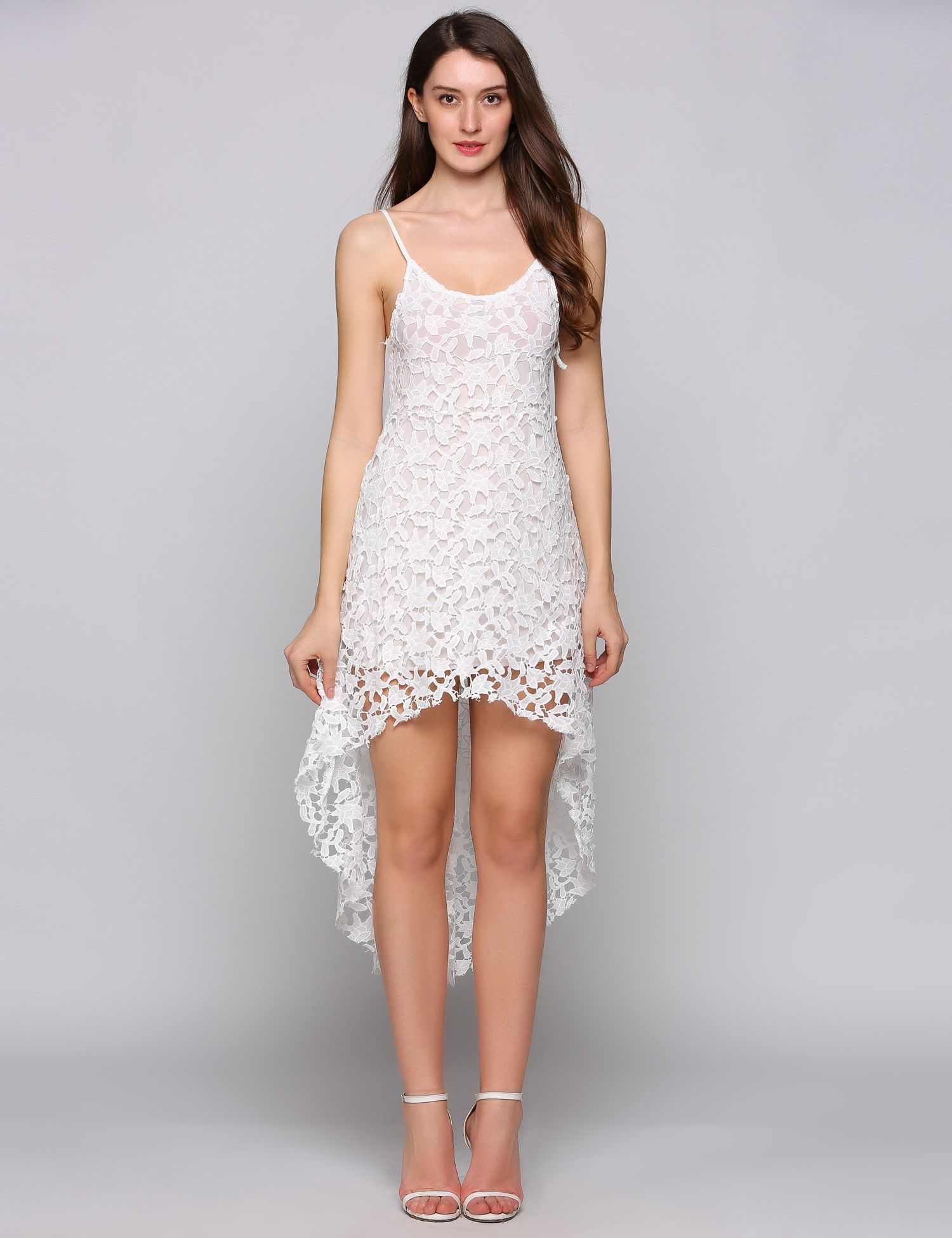 9cce43cb7dc Spaghetti Strap Sleeveless Lace Hollow Out Asymmetrical Hem Going Dress  With Lining