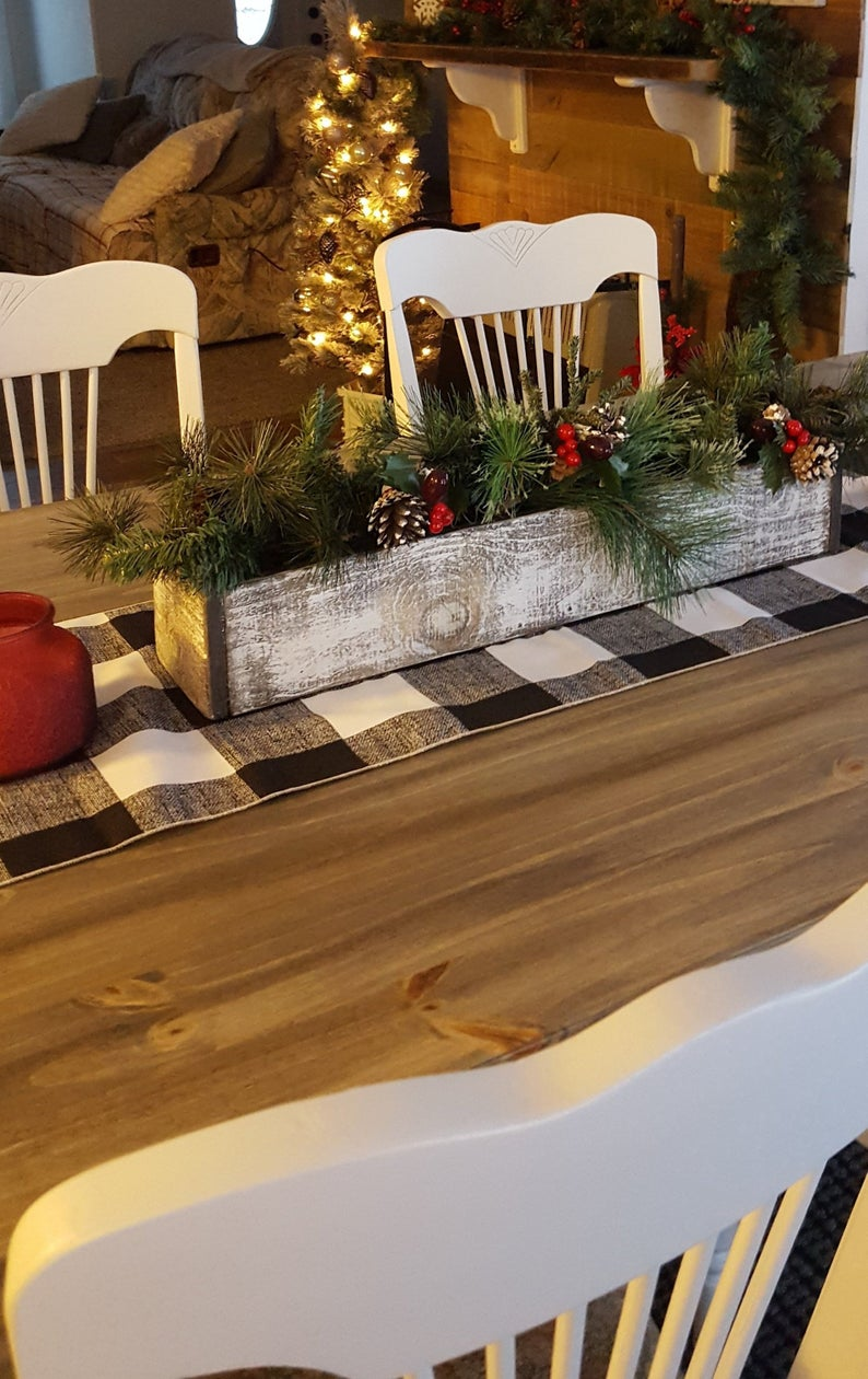 Farmhouse table decor Rustic Christmas table decor Farm ...