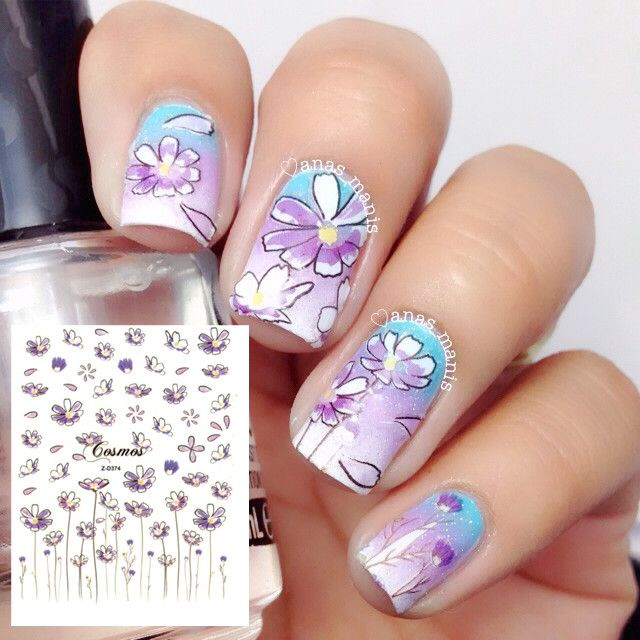 1 54 Sheet Cute Flower Nail Art Stickers Light Purple Fl Decals