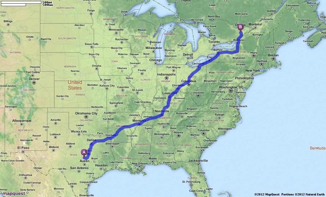 Canada Map Quest Driving Directions.Driving Directions From Fort Hood Texas To 108 Holmes Street