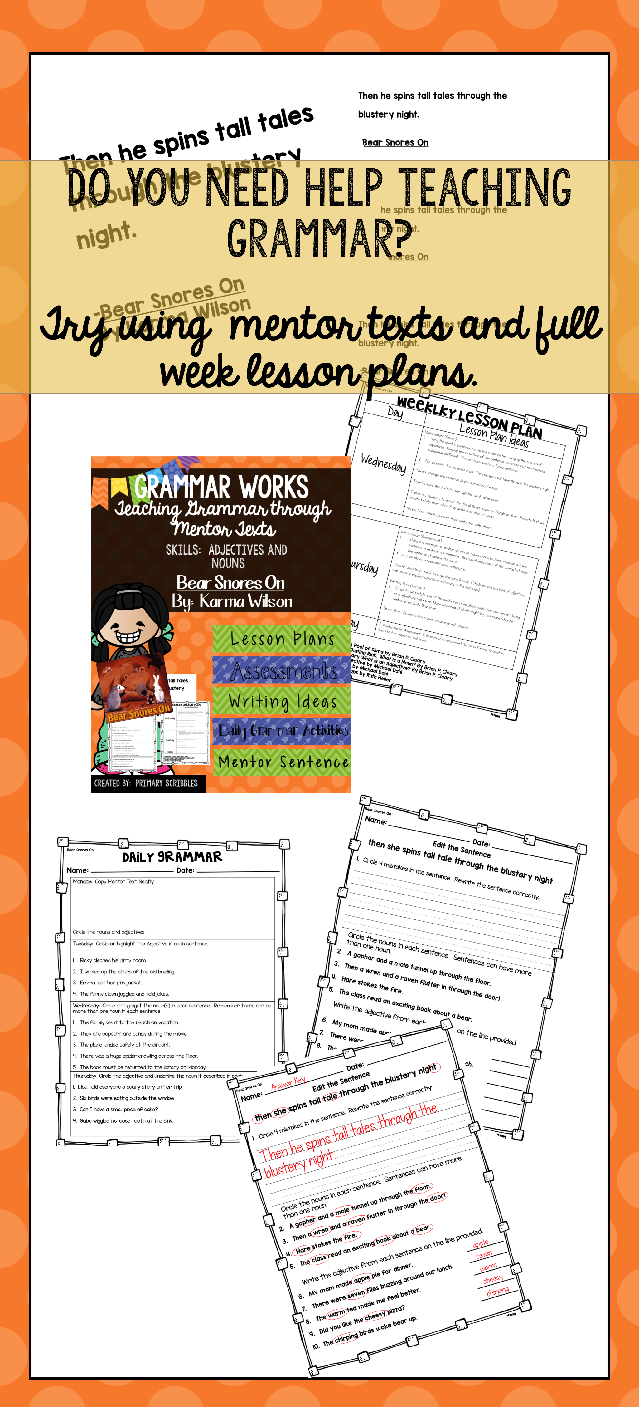 Grammar Works With Mentor Text Bear Snores On