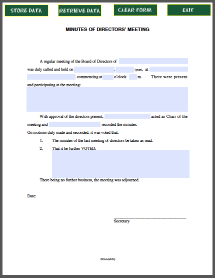DIRECTORS MEETING MINUTES FORM Forms – Meeting Minutes Forms