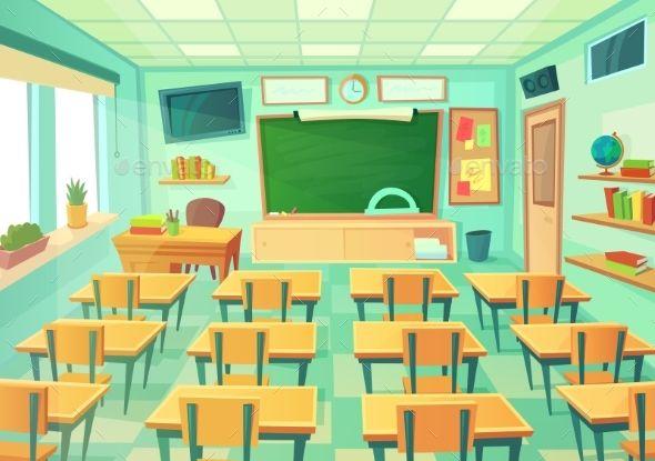 Empty Cartoon Classroom Em 2020 Elementary Cenario Anime Cenario Para Videos