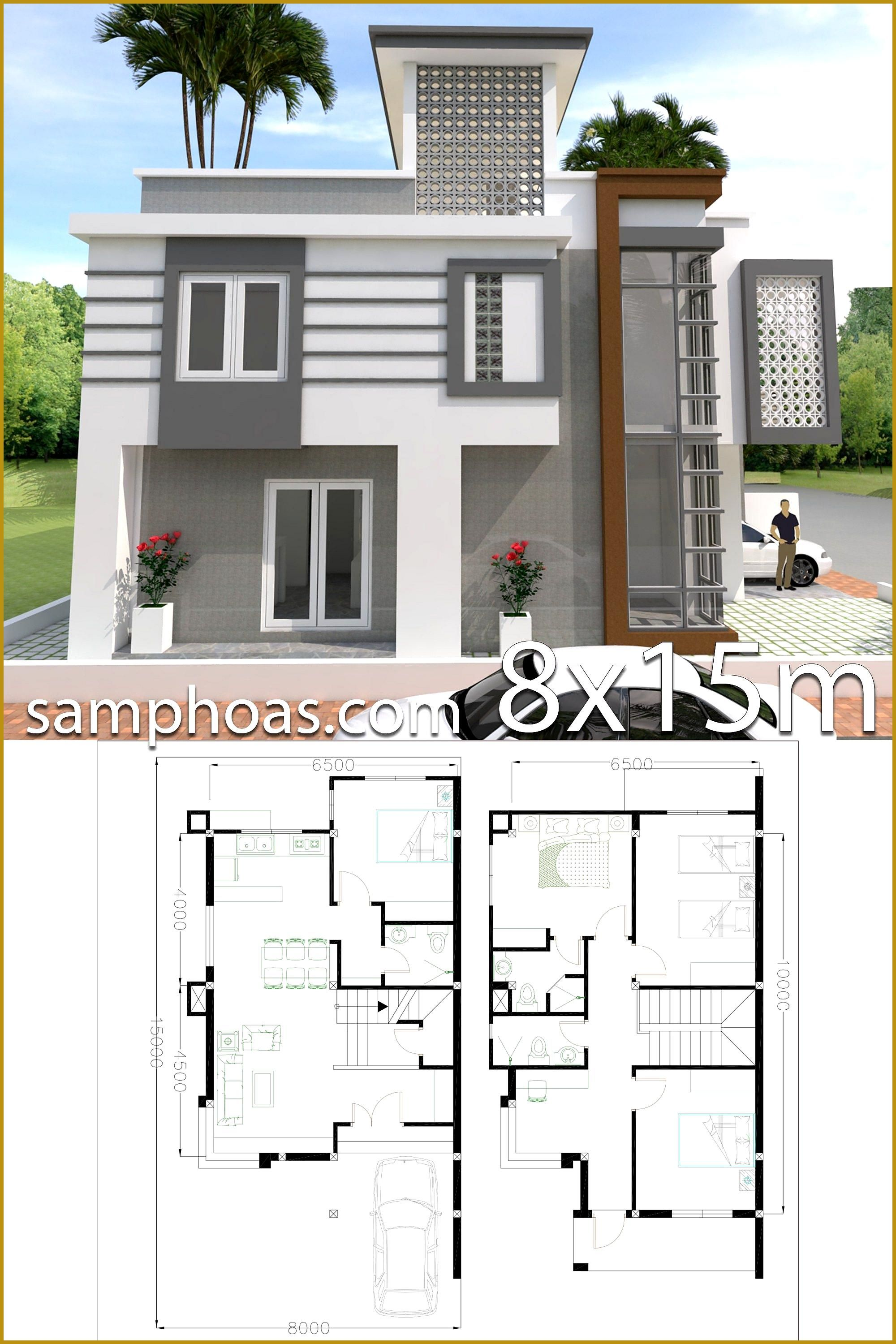 Home Design Plan 8x15m With 4 Bedrooms Samphoas Plan Home Design Plan 8x15m With 4 Bedroo Architectural House Plans House Architecture Design Home Design Plan
