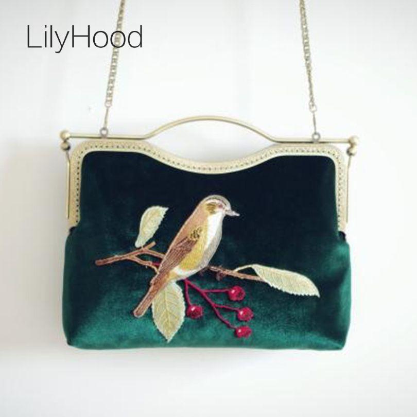 2017 Velvet Embroidery Handbag Lady Trendy Vintage Retro Old Fashion Elegant Fabric Animal Birds China Emeraid Crossbody Bag