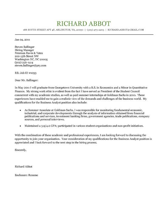 Student Cover Letter Example Cover letter example, Letter - investment banking resume sample
