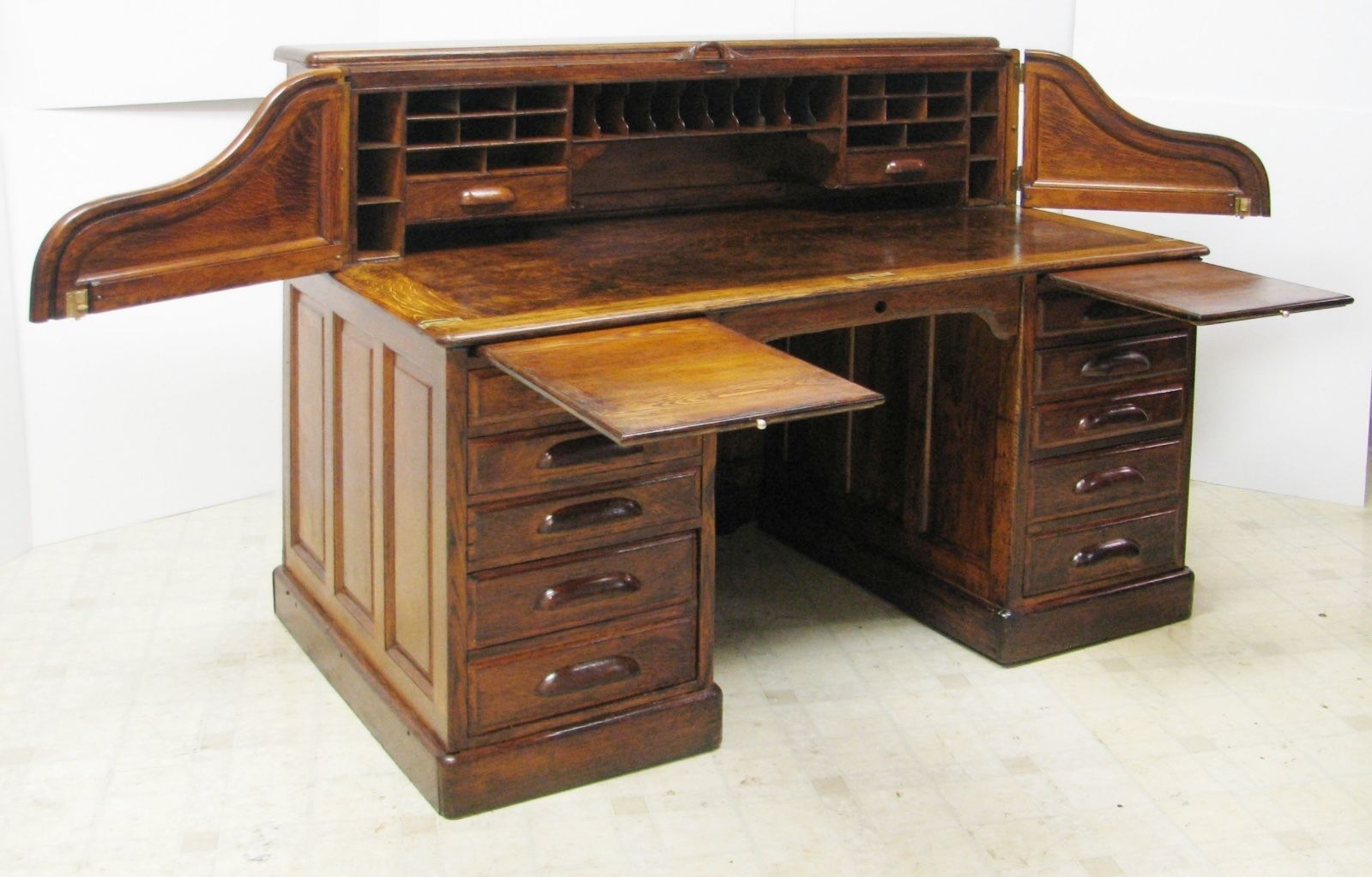 Antique Roll Top Bankers Desk - Mid 1800's - Large 60
