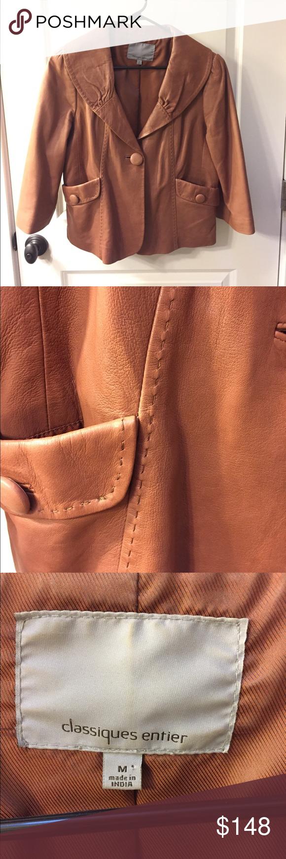 Cropped saddle brown leather jacket! medium Brown