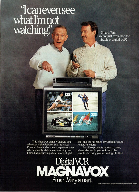 1987 Advertisement Smothers Brothers Magnavox Digital VCR Television