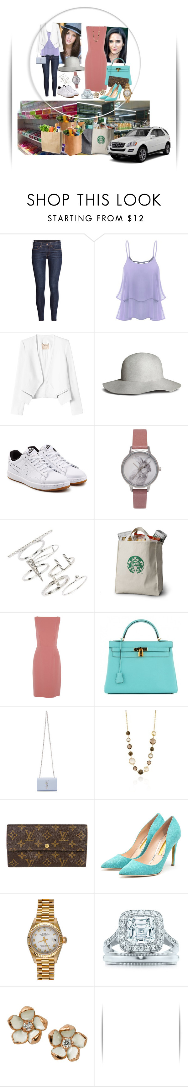 """""""Shopping for home with my mom"""" by medicicapetiens on Polyvore featuring H&M, Rebecca Taylor, NIKE, Olivia Burton, Topshop, Burberry, Hermès, Yves Saint Laurent, PIARA by Elaine J and Louis Vuitton"""