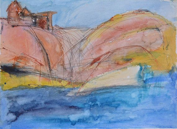 "Mediterranean Seascape Painting: ""Corsican Blue"", Becker Beste Aquarelle, watercolor painting, expressionist art, colorist painting, Sea art"