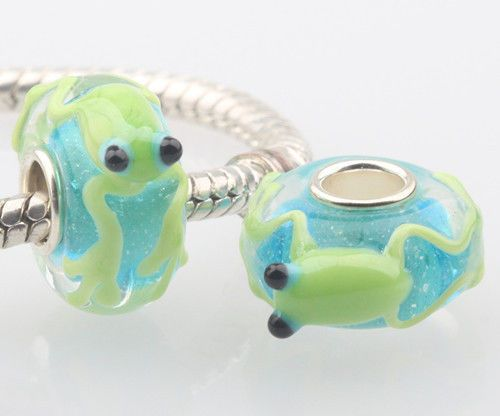 SILVER MURANO GLASS BEAD LAMPWORK Animal European Charm Bracelet DW013