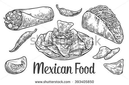 Mexican Traditional Food Set With Text Message Burrito Tacos