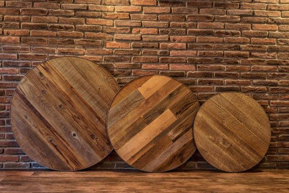 Reclaimed Wood Table Top, 60 Inch Round Table Top