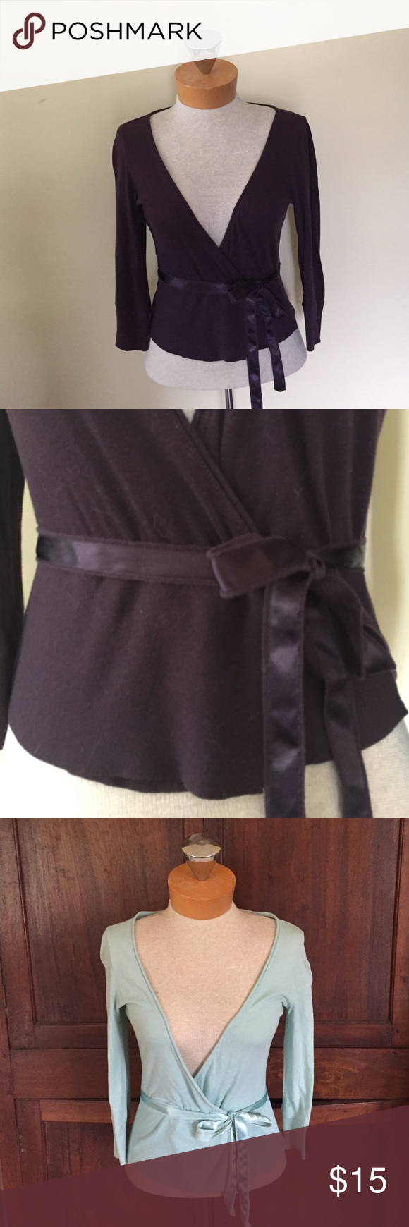Deep purple (also in light blue) EXPRESS wrap top 3/4 length sleeve, cotton wrap style with satin ties around waist. One blue available, one deep purple. *Fits more like a small* Express Tops