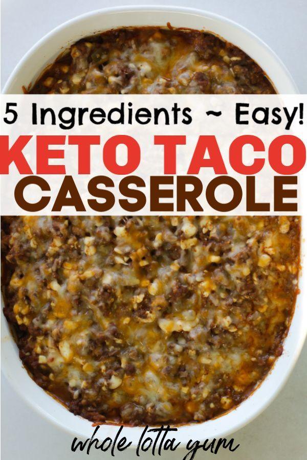 Keto Taco Auflauf macht und einfach Keto Abendessen Rezept. Mit nur 5 Zutaten da...