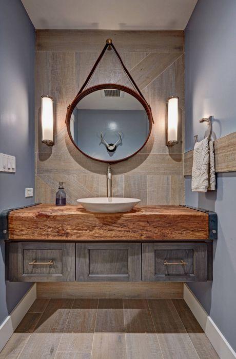 Rustic Modern Bathroom Design Floating Vanity Wood Slab Countertop Orange Cou Rustic Modern Bathroom Eclectic Bathroom Rustic Powder Room