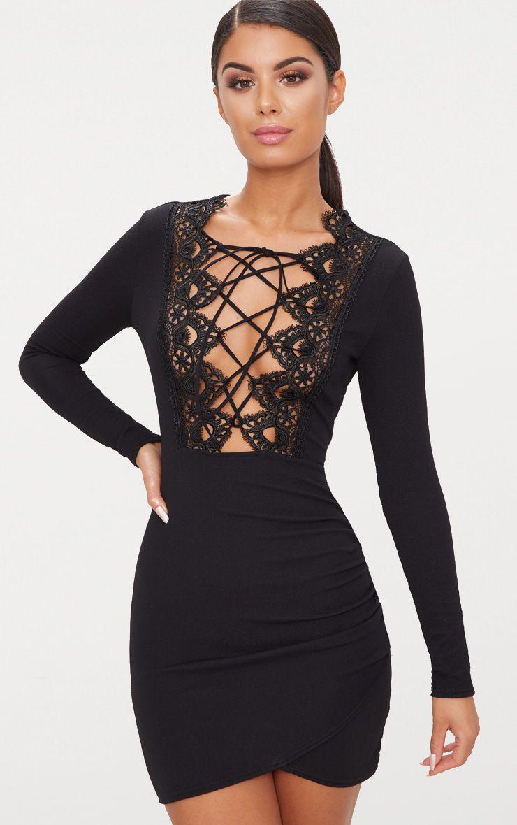 Black lace up long sleeve wrap detail bodycon dress wishlist