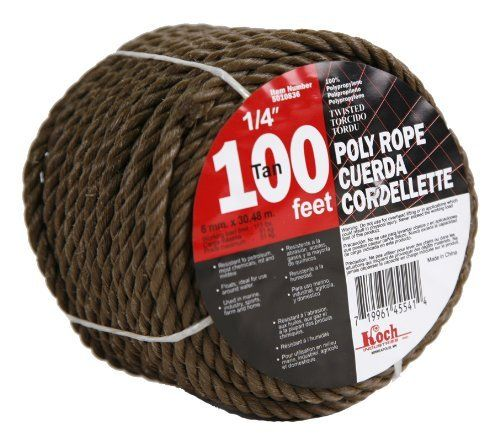 Koch 5010836 Twisted Polypropylene Rope 1 4 By 100 Feet Tan By Koch 9 99 From The Manufacturer Polypropylene Rope Best Knots Poly Rope Rope