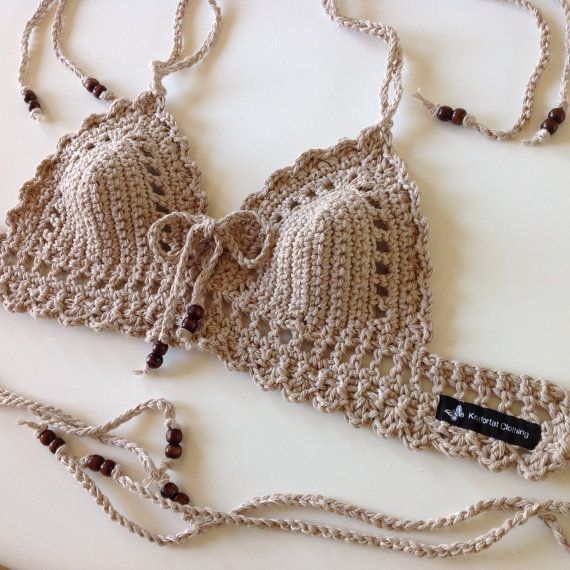 Lace up front Cafe Coachella Crochet Bra by KnitfortatClothing