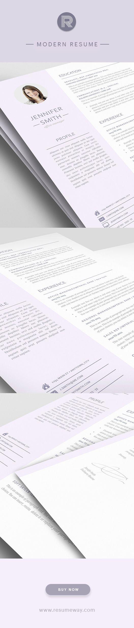 Modern Resume Template 110950 - Premium line of Resume & Cover ...