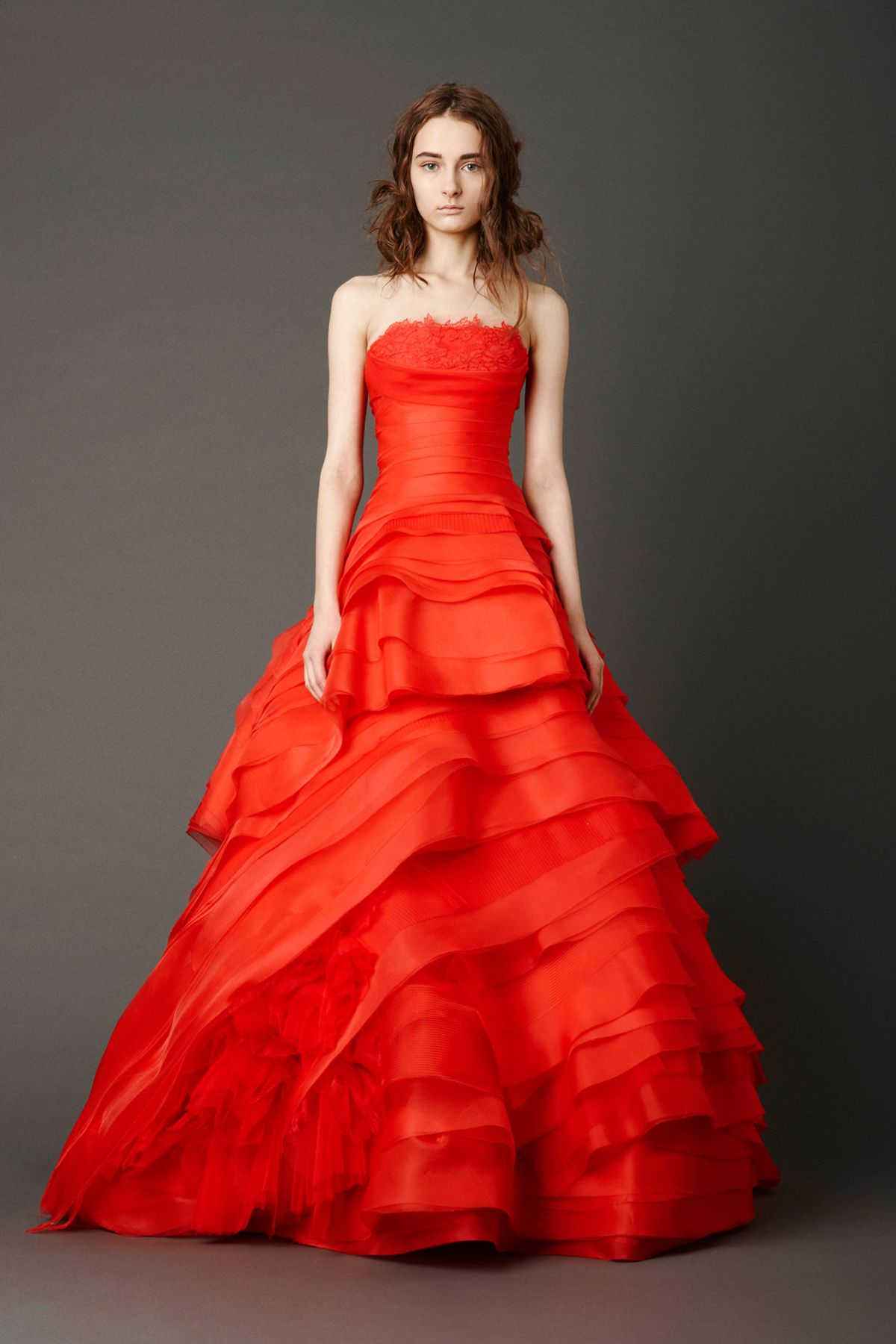 Red wedding dresses vera wang  Cardinal strapless biascut ballgown with handrolled floral and