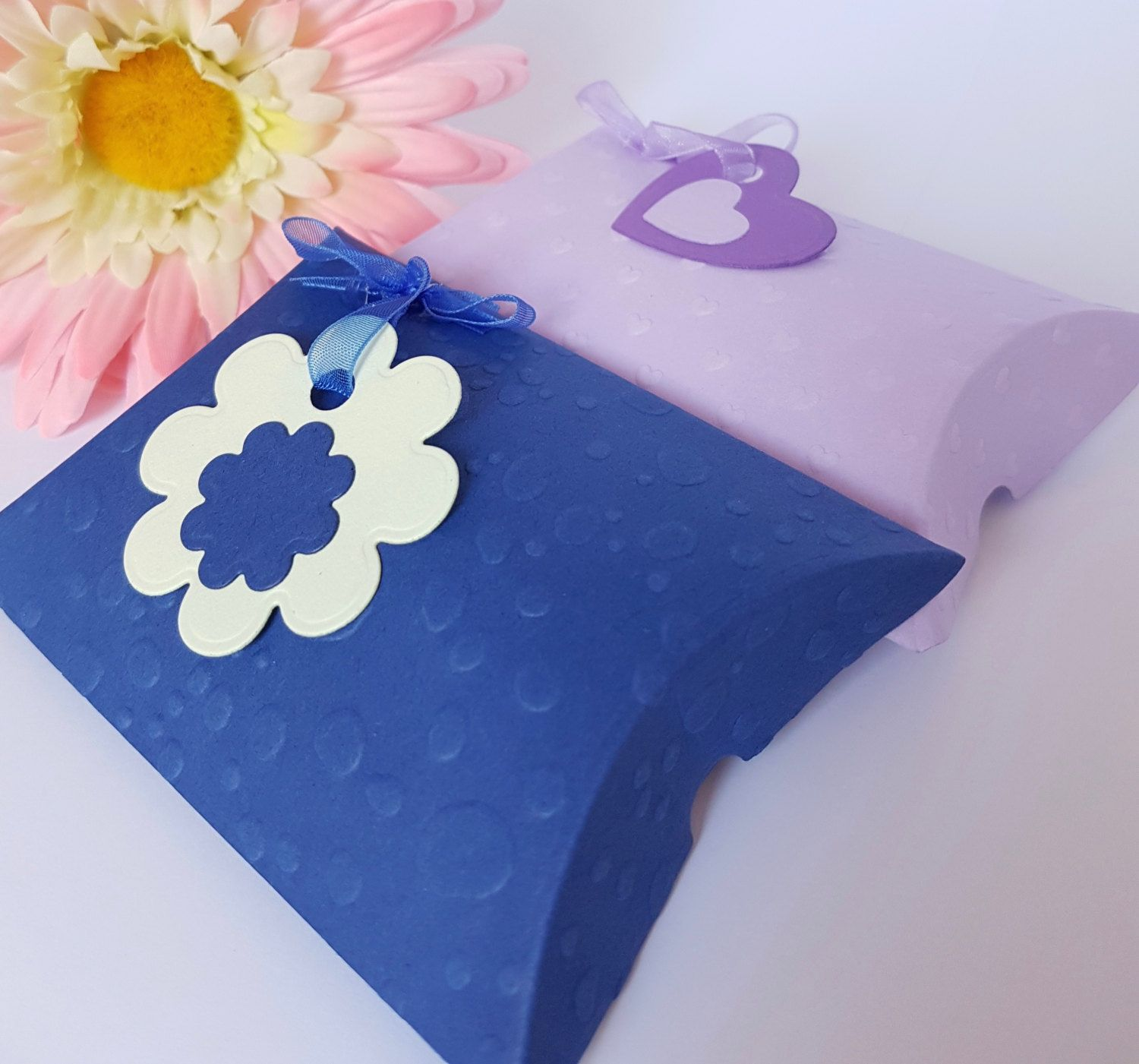 Decorated Pillow Boxes Packs of 6 Various Colours PB01 by BrightCraftBySharon on Etsy