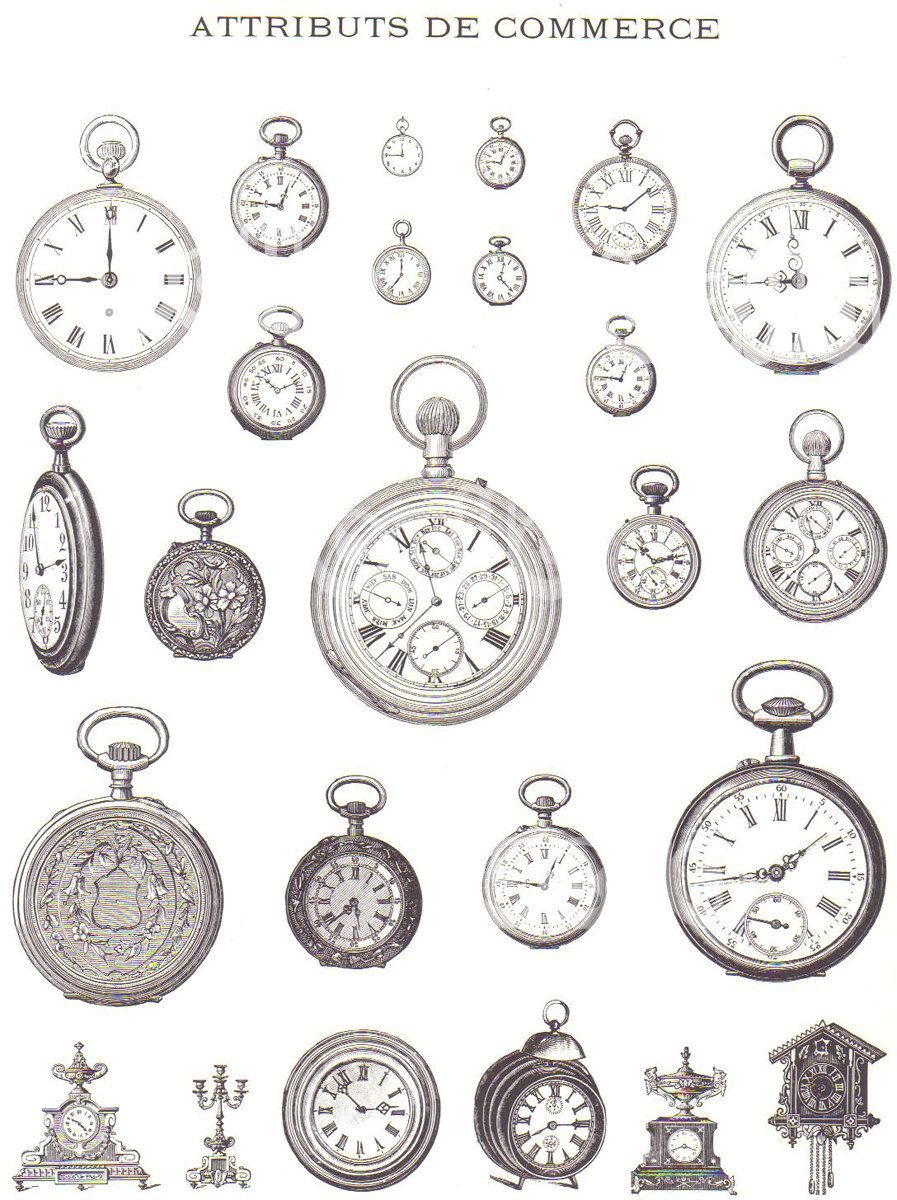 Vintage French Illustrations Of Mens Hats Pocket Watches Pipes Etsy Watch Tattoos Pocket Watch Tattoo Vintage Tattoo