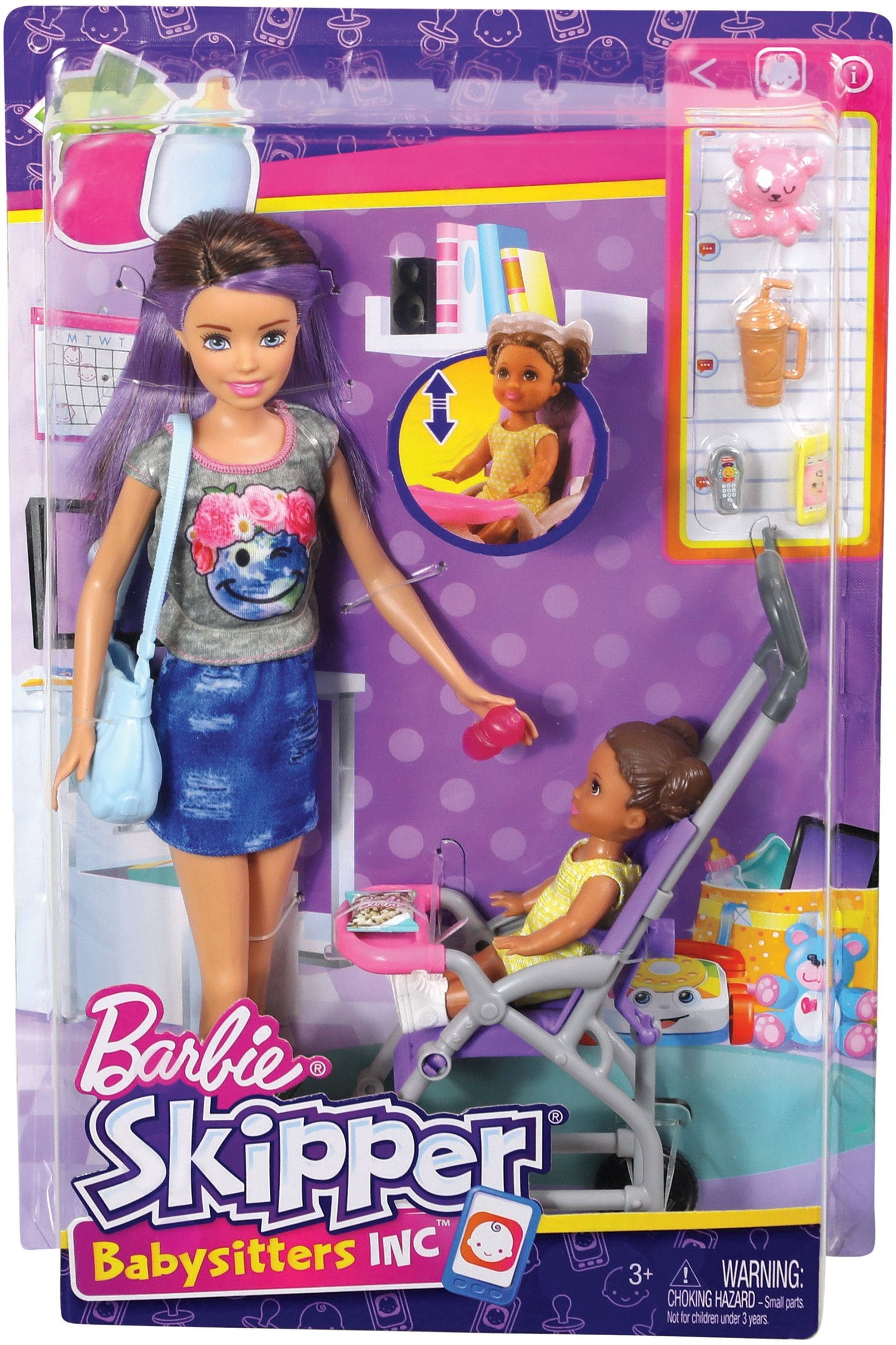 Girls Barbie Babysitting Playset With Doll And Bouncy
